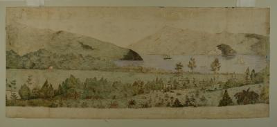 Painting; Dunedin, by Mrs S. Street, 1859