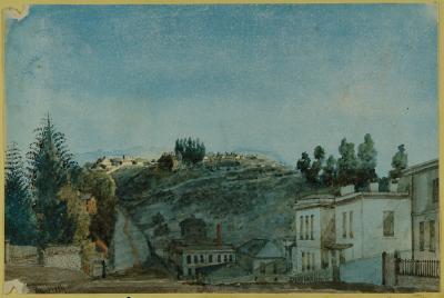 Painting; Clark Street Showing Breakneck Hill, Dunedin, June 1884