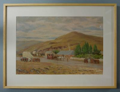 Painting; Changing horses en route to the goldfields, Pigroot Hotel