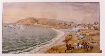 Painting; Easter Encampment of Volunteers at Oamaru, by Christopher Aubrey, 1886