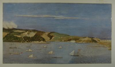 Painting; Otago Harbour and Peninsula, with Vauxhall and Andersons Bay