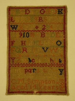 Sampler, sewn by Miss Catherine Simpson, 1860