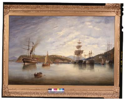 Painting; Port Chalmers with ships