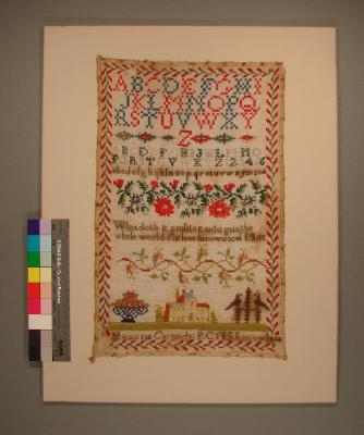 Sampler, made by Honoria Carmody (later Mrs Thomas Quill), 1854