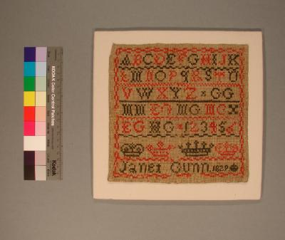 Sampler by Janet Gunn, 1829
