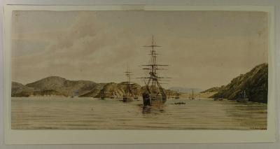 "Painting; Ships, ""Robert Henderson"" and ""Pladda"", Port Chalmers, 1861"