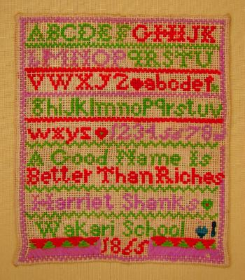 Sampler; Harriet Shanks, Wakari School, 1865