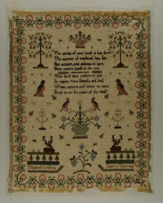 Sampler; worked by Elizabeth Corderoy, 1824
