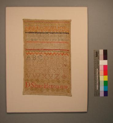 Sampler; Miss D Shackleton, 1839