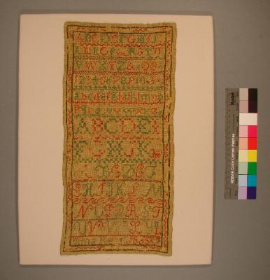 Sampler; worked by Mina Re [illegible surname, possibly Reid or Read], 1865