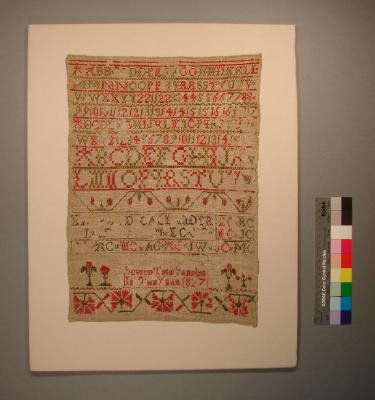Sampler, worked by Mary Callander, 1827