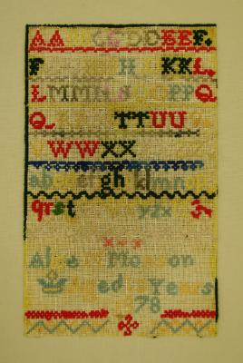 Sampler; Alice Monson, 1878