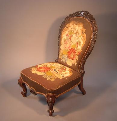 Chair, carved by Miss Holmes, dated 1859