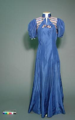 Dress; Blue taffeta evening dress