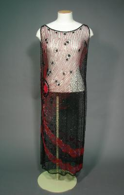 Overdress; Red and black beading