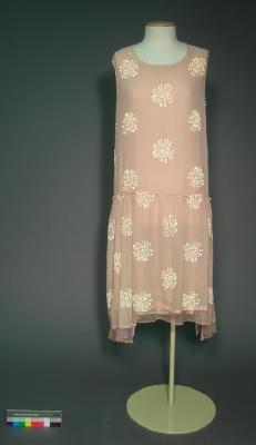 Dress; Pink shift-style dress with gold 'flocked' pattern