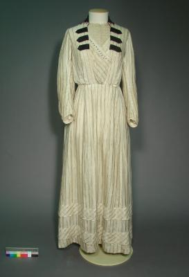 Dress; Edwardian day dress with rugby ball shaped buttons