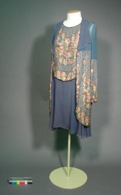 Dress and jacket; flapper style blue chiffon