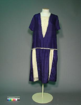 Dress; Purple silk shift dress with gold lace trim