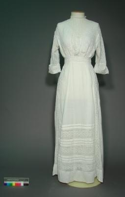 Dress; White cotton with broderie anglais and lace
