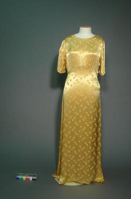 Dress; Gold evening dress
