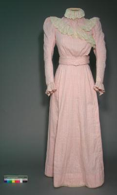 Day dress; Pink and white striped skirt and bodice