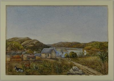 Painting; John Barton's [?Borton's] house, corner Manse Street and Princes Street, Dunedin