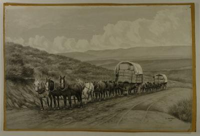 Painting; Horse teams and wagons, 1901