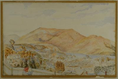 Painting; Pelichet Bay from London Street, Dunedin, 1873