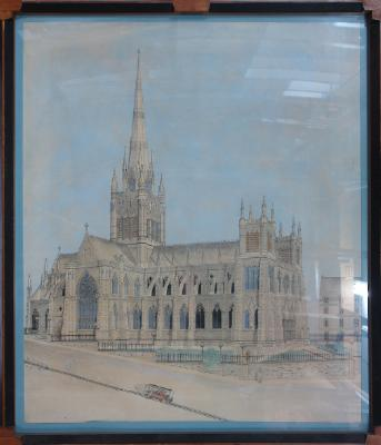 Painting; St Joseph's Cathedral and Roslyn Tram Co.