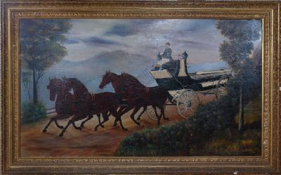 Painting; Man driving an open carriage