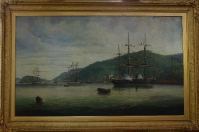Painting; The landing of Sir George Grey from H.M.S. 'Brisk' at Port Chalmers, 1867