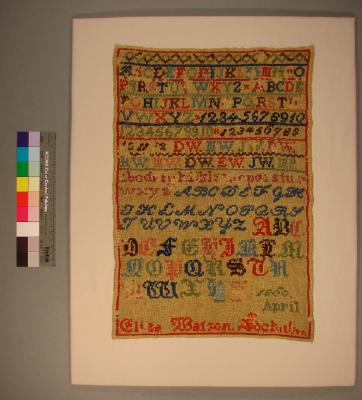 Sampler worked by Eliza Watson, April 1860