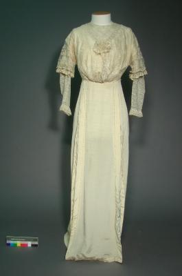 Cream dress; Edwardian wedding gown