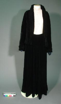 Dress; two-piece, black velvet suit
